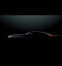 Realistic car in the dark side view vector