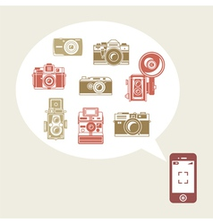 Retro photo cameras in phone vector image vector image