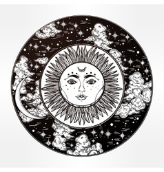 Round drawing of a night sky with sun moon inside vector image vector image