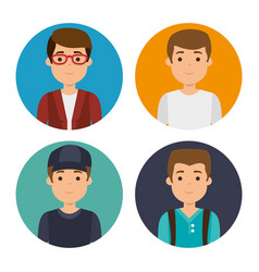 Set of millennial young people vector