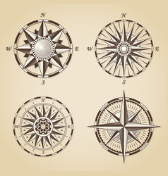 Set of vintage old antique nautical compass roses vector