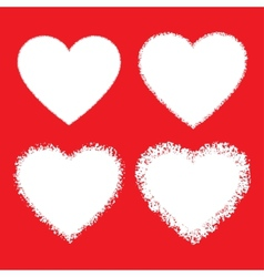 Set of White Hand Drawn Grunge Hearts vector image vector image