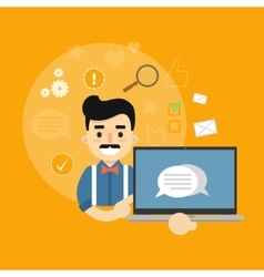 Social media banner man with laptop vector