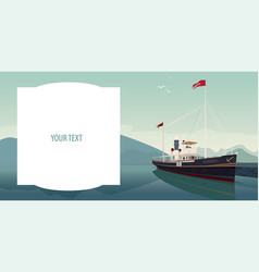 Template with text field and pleasure boat vector