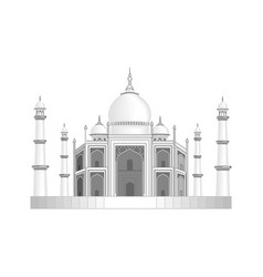 The taj mahal temple in india stylized as a vector