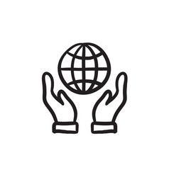 Two hands holding globe sketch icon vector