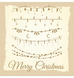 Vintage christmas garland set vector image vector image