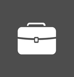 White briefcase icon on a dark background vector
