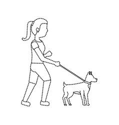 woman walking dog pet icon image vector image vector image
