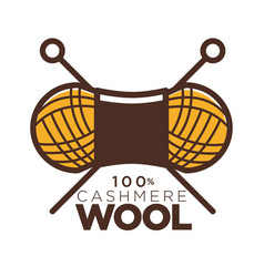 wool cashmere clew needles icon for natural vector image