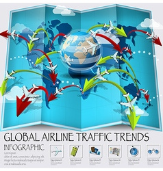 World map of global airline traffic trends vector