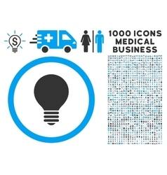 Electric bulb icon with 1000 medical business vector