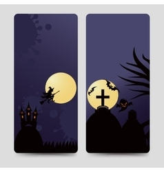 Halloween flyers template with castle vector image