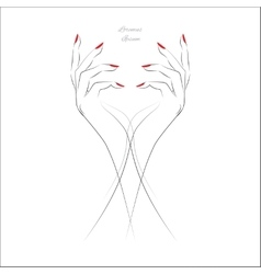 Hand with red nails vector