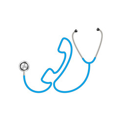 Stethoscope in shape of telephone in blue design vector