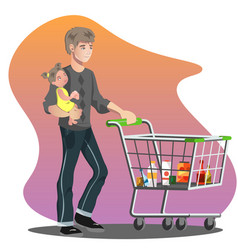 Father with daughter and shopping cart vector