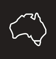 Stylish black and white icon map of australia vector