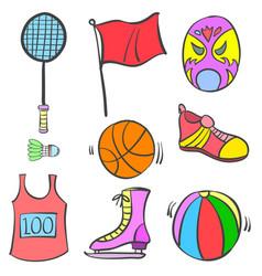 Sport equipment object of doodles vector