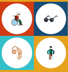 Flat icon handicapped set of injured audiology vector