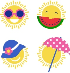 Four sun icons happy summer holidays vector