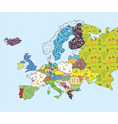 Europe map funny design with pattern vector