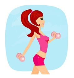 Fit brunette woman exercising with two dumbbell vector