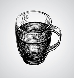 Coffe mugs drawing sketch style vector