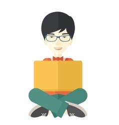 Chinese guy reading a book vector