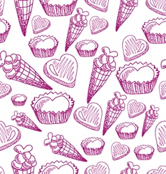 Seamless pattern with candy ice cream and hearts vector