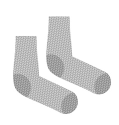 Knitted socks woollen clothing for cold weather vector