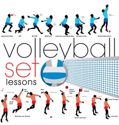 Volleyball lessons set vector