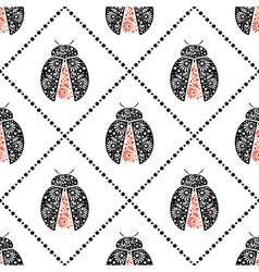 Pattern with bright decorative black and red vector