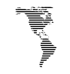 Black linear symbol of north and south america map vector