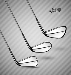 Golf sticks on the gray background as design vector