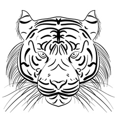 Stylized face of ink sketch tiger vector