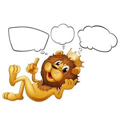 A lion with a crown thinking vector image vector image