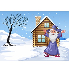 A wizard outside the house on a snowy season vector image vector image