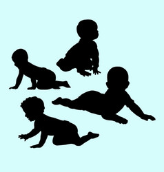 babies action and activity silhouette vector image vector image