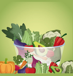 bowl vegetables menu fresh ingredients vector image