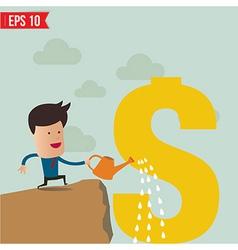 Business man watering money vector