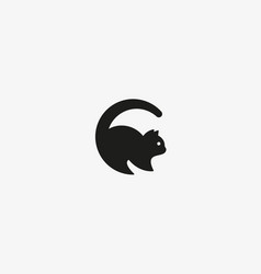 cat logo pet letter c logotype vector image