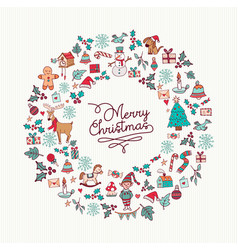 Christmas hand drawn cute holiday wreath card art vector