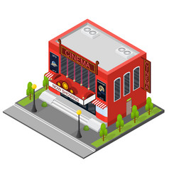 cinema building isometric view vector image