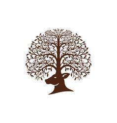 Deer Head Tree Antler Retro vector image