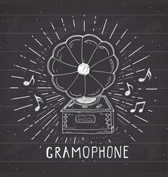 Gramophone vintage label hand drawn sketch grunge vector