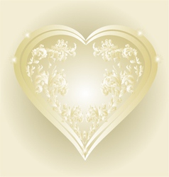 Heart of gold and silver ornaments vintage vector image vector image