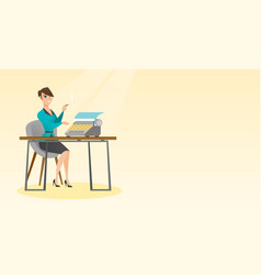 Journalist working on retro typewriter vector