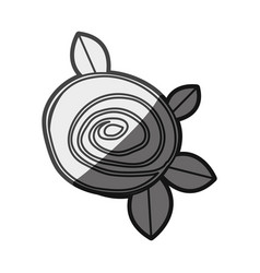 Monochrome silhouette drawing rose with leaves vector
