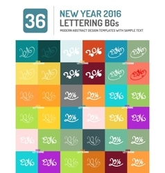New year 2016 hand drawn lettering set vector image