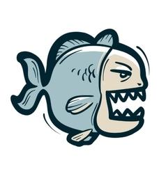 piranha logo fish or fishing icon vector image vector image